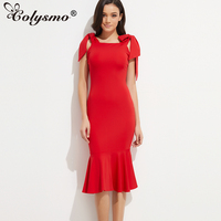 Smoves Vintage Mermaid Dress Super Thick Strechy Flattering Bow Tie Strap Flouncing Midi Dress Bodycon Dresses