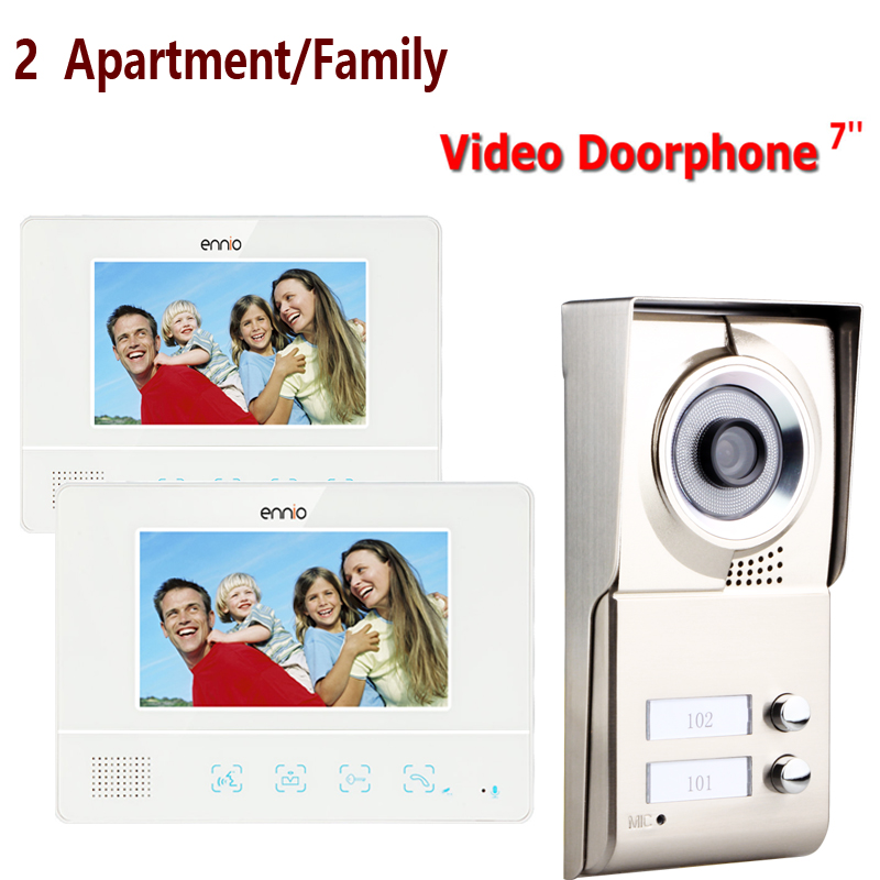 FREE SHIPPING ENNIO 2 Apartment/Family Video Door Phone Intercom System 1 Doorbell Camera with 2 button 2 Monitor Waterproof beibehang shop for living room bedroom mediterranean wallpaper stripes wallpaper minimalist vertical stripes flocked wallpaper