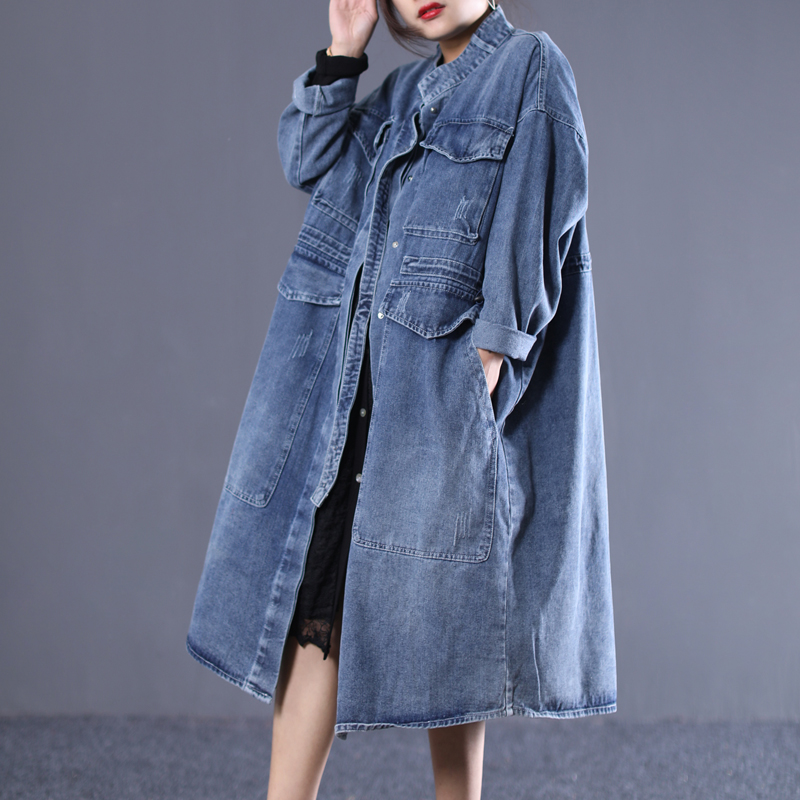 2019 female new autumn Korean style plus plus size   trench   literary with large pocket long section white loose denim outerwear