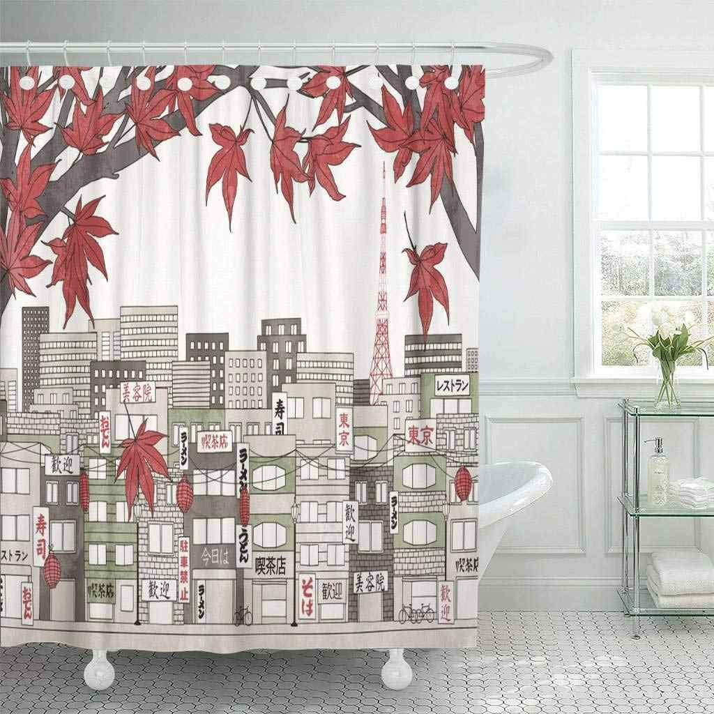 Shower Curtain with Hooks Tokyo Japan in Autumn Colorful of The City with Red Maple Branches and Some Empty Space  Bathroom