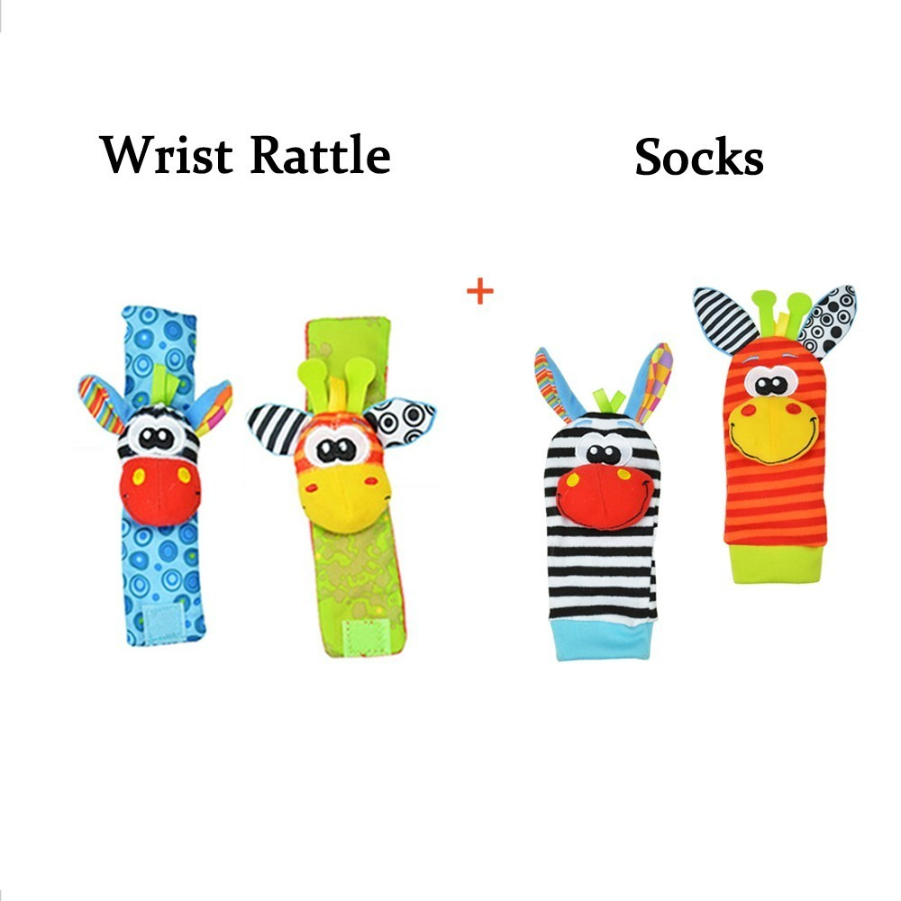Sozzy Wholesale Infant 0~12 Months Baby Socks Newborn Toddler Toys Wrist Strap Boy Girl Rattle Ring Gift Infant Kids Soft Toy