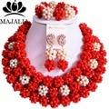 Cuentas de boda africanos moda rojo boda nigeriano beads africanos joyería conjunto Cristal Envío libre L-008