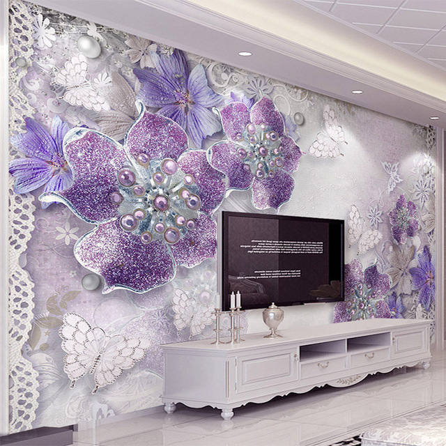 European Style Purple Flower Jewelry 3D Photo Mural ...