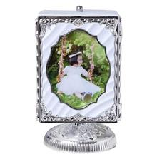 5 inch Rotating Music Box Photo Frame swing rotating eight-frame Plastic Pictures Frames Home Decor Personality gift table 3