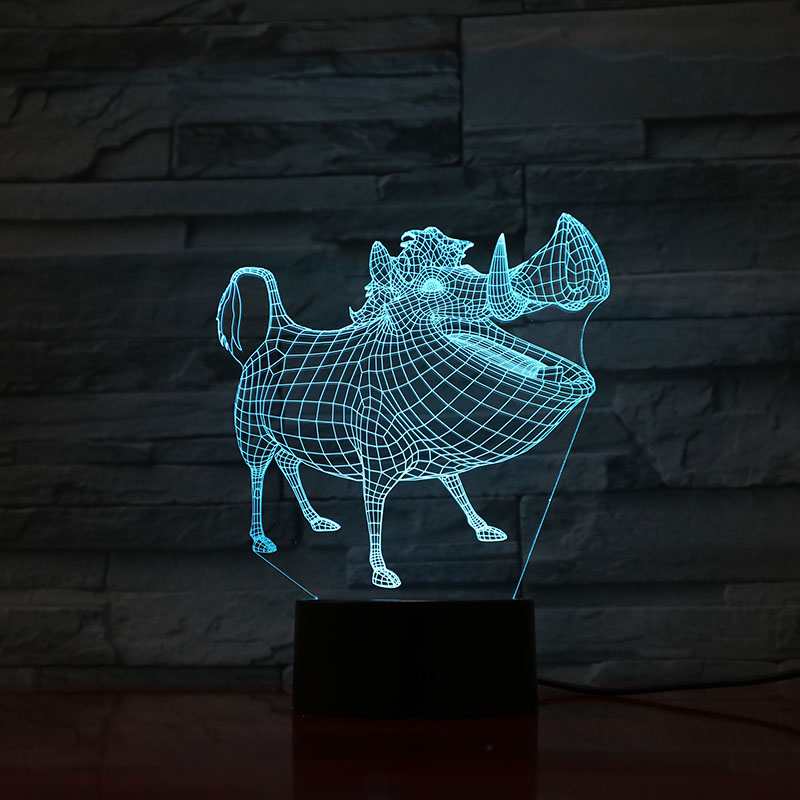 Table Lamp Bedroom Pumbaa Decor Lampara 3D Illusion Touch Sensor Child Kid Gift Decoration Cartoon The Lion King Night Light LED