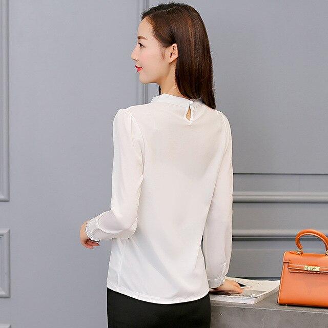 Harajuku New Spring Summer Blouse Women Long Sleeve Shirts Fashion Leisure Chiffon Shirt Bow Office Ladies Pink White Tops 4