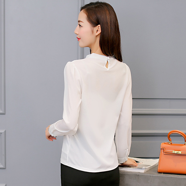 Women Long Sleeve Shirts Fashion Leisure Chiffon Shirt Bow Office Ladies Pink White Tops 4