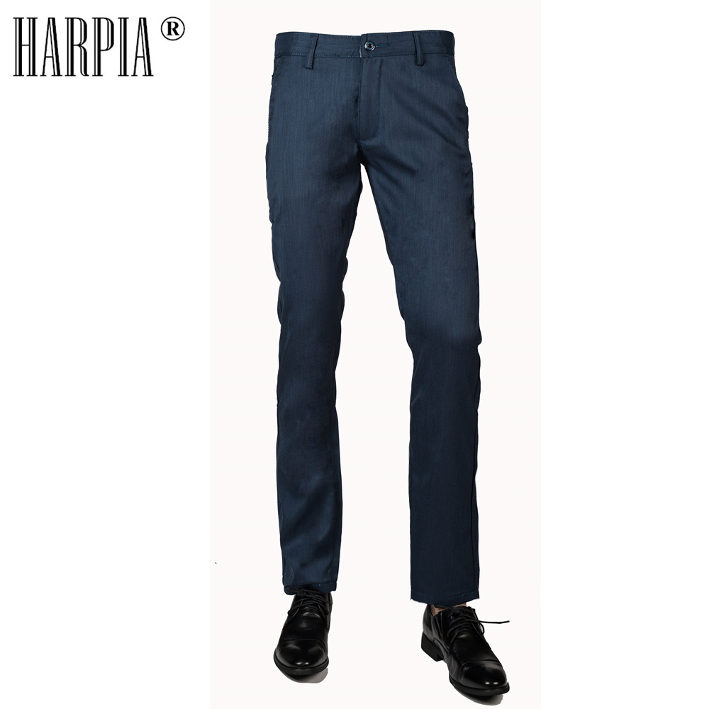 HARPIA High-grade Cotton Fabric Business Mens Casual Pants Spring Autumn New Slim Stretch Blue Straight Men Trousers Male Pants ...