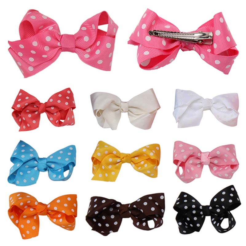 Fashion Colorful Baby Girls Lovely Sweet Bowknot Dots Hairpin  Kids Children Hair Clip Hair Accessories halloween party zombie skull skeleton hand bone claw hairpin punk hair clip for women girl hair accessories headwear 1 pcs