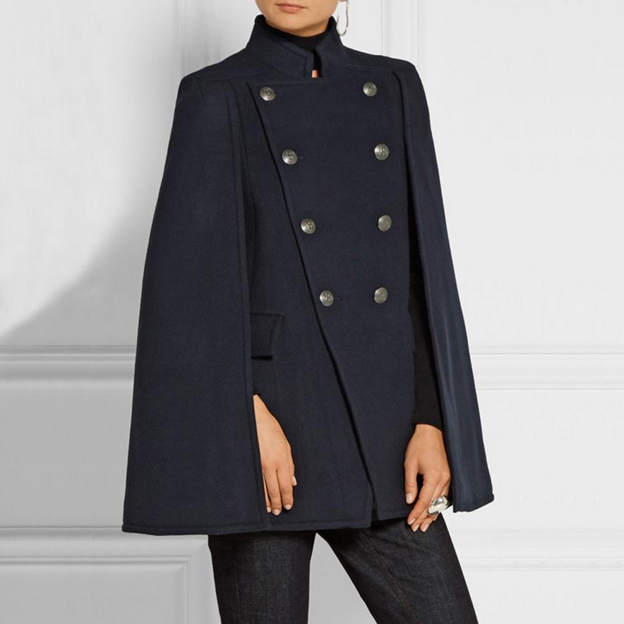 Wool Blend Womens Military Style Double-breasted Stand-Collar Short Coat Jacket