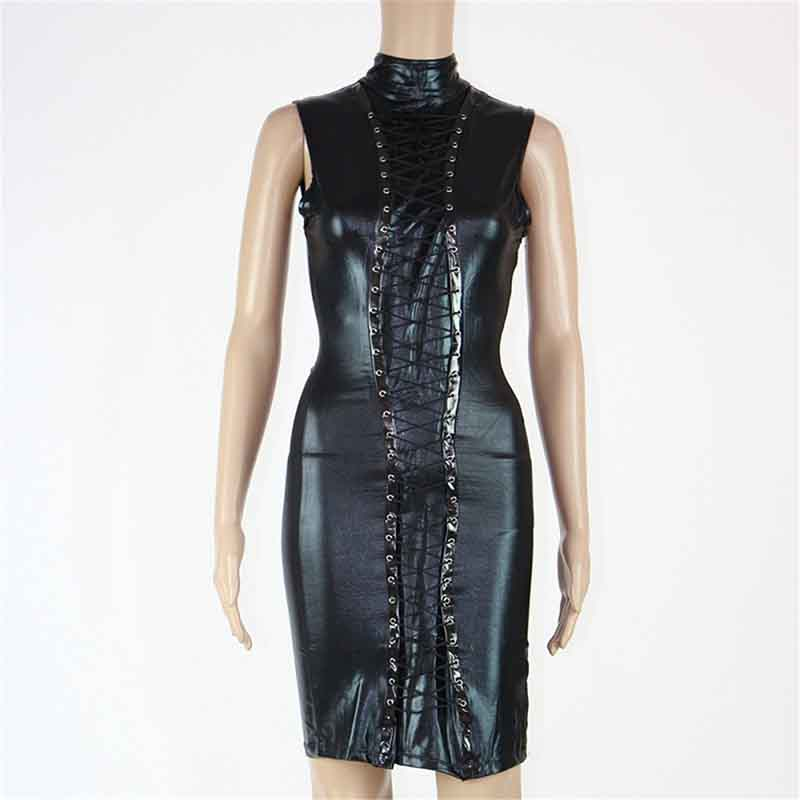 Women Sleeveless Wet look Vinyl Black Sexy Night Club Front Lace-up Leather Turtleneck Bodycon Pencil Party Dresses 2018