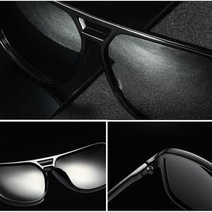 Image 5 - AOWEAR lunettes de soleil rétro carrées pour hommes, verres miroirs polarisés, pour la conduite, pour lextérieur, haute définition, élégantes, bleues, Oculos