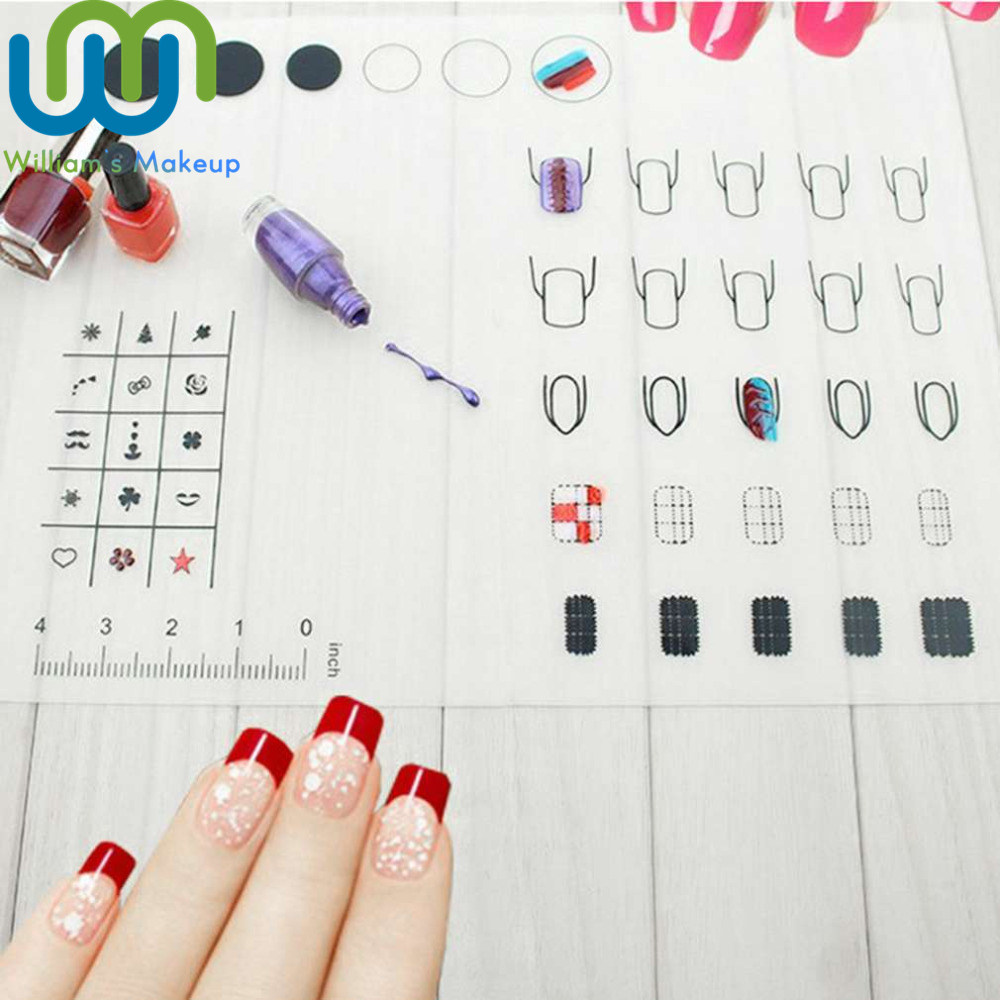 Foldable Nail Art Practice Silicone Coloring Pad Mat Polish Sticker Stamping Guide Print ...