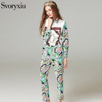 SVORYXIU Runway Designer Autumn Women S Trousers Suit High Quality Long Sleeves Shirt Casual Printing Trousers