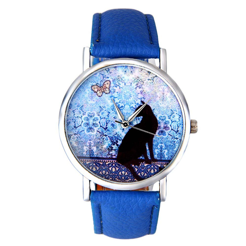 Montre Femme 2016 Fashion Women Watches Cat Pattern Leather Band Analog Quartz Vogue Ladies Men Watch Clock And Watch Box newly design dress ladies watches women leather analog clock women hour quartz wrist watch montre femme saat erkekler hot sale