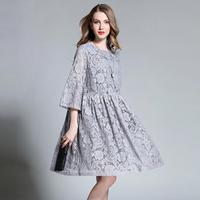 Big Size Women Dress 2016 Autumn Hollow Out Half Sleeve Fashion Loose Lace Dress 4XL Plus