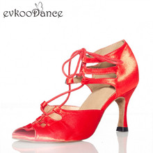 Red White And Black Dancing Shoes Size US 4-12 Heel Height 8.5 cm Professional Latin Satin Salsa Dancing Shoes For Women NL133