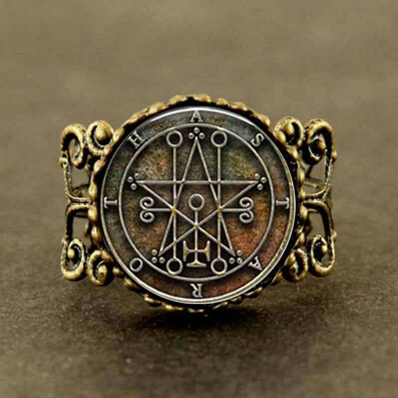 Vintage Seal of Astaroth Sigil silver bronze masonic man adjustable Ring jewelry steampunk men women charms jewelry black friday