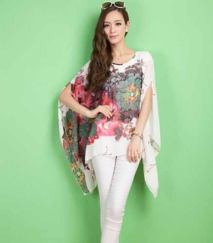 Summer Women Sexy Batwing Sleeve Loose Chiffon Shirts Floral Print Flowers Shirt Blouse Tops Fashion Unique Girls's Clothing