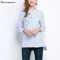 Spring Striped Shirts Stand Collar Fuff Sleeves Embroidered Open Stitch Hem Womens S Tops Blouses Spring