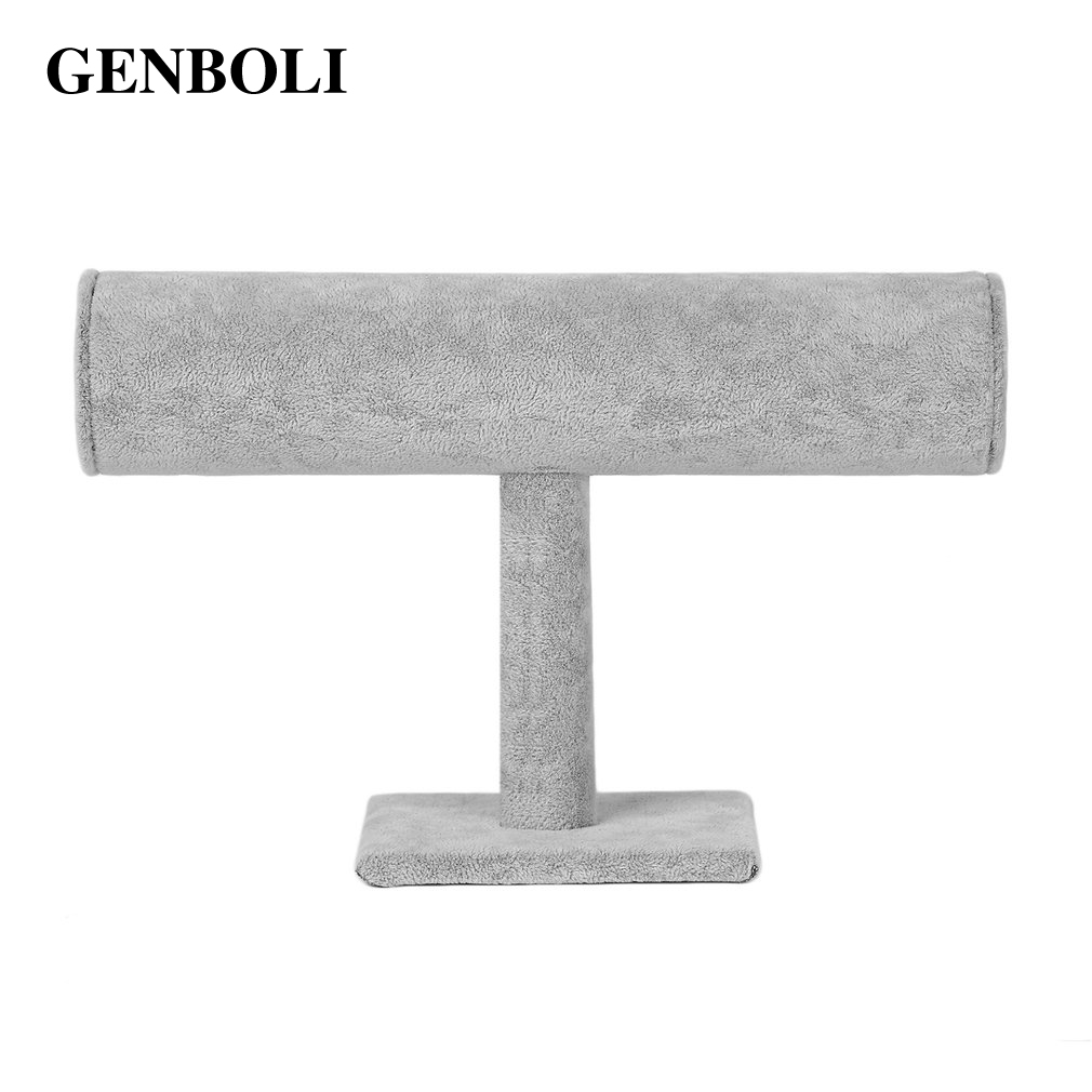 GENBOLI Velvet Jewelry Rack Watch Bracelet Stand Organizer Holder Display Gray Color Perfect For Both Display Ornament
