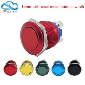 19mm metalowy przycisk przycisk resetowania chwilowe tlenku glinu czerwony zielony żółty niebieski czarny wysoka głowica z łbem płaskim tanie i dobre opinie Przełączniki Przełącznik Wciskany HB-19FWYSH01 Color is rich WZAZDQ three year Ze stopu Aluminium ze stopu Aluminium