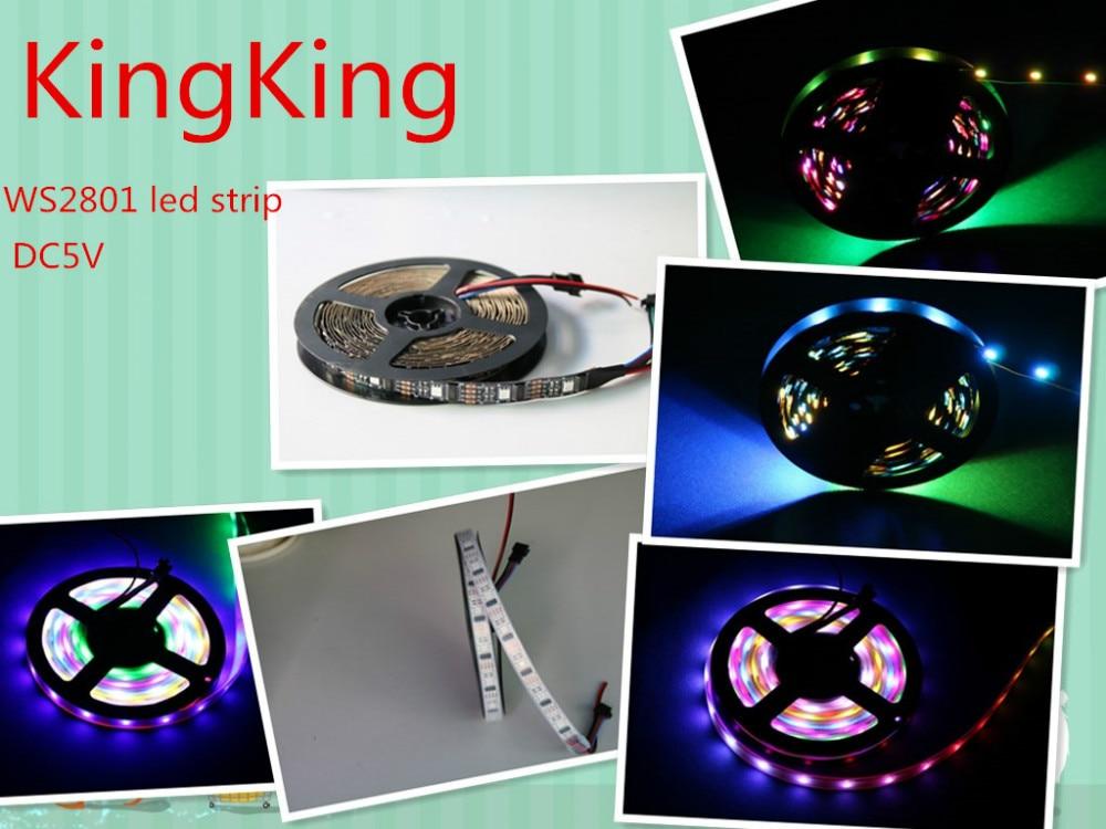 Gratis forsendelse 5M WS2801 RGB LED magisk drøm farve Strip lys 32Leds / M ikke-vandtæt 32ic / ledet WS2801 Pixel Strip