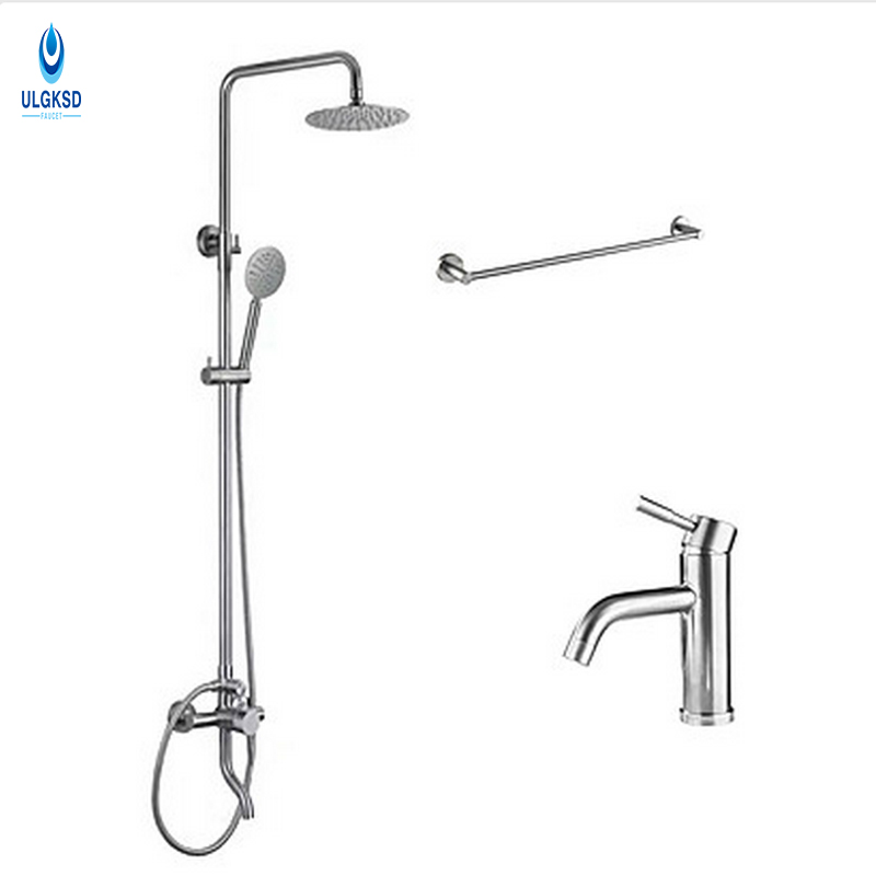 ULGKSD 8Rainfall Shower Head+Basin Faucet +Towel Shelf W/Hand shower Long Nose Tub Shower Faucet Hot and Cold Mixer Taps