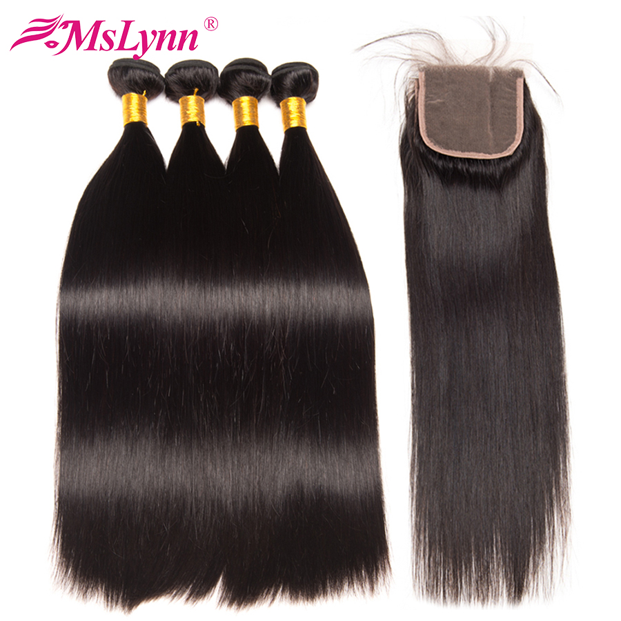 Brazilian Straight Hair Weave Bundles With Closure 4PCS Human Hair Bundles With Closure 4 4 Natural