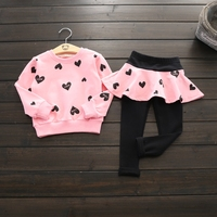 New girls long sleeve printed love t shirts +skirt leggings set autumn sweet princess outwear children's casual clothes 17J701