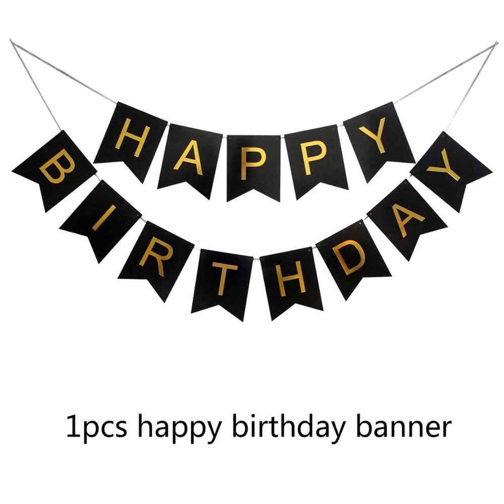 Amawill, decoraciones para fiesta de cumpleaños de 45 años, adulto para cartel de feliz cumpleaños negro, globos de aluminio con estrella de 12 pulgadas, globo de látex 7D