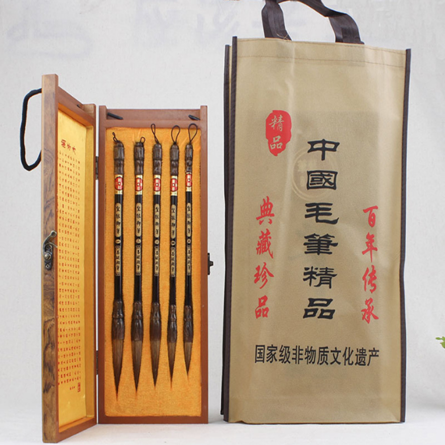 Chinese Traditional Weasel Hair Calligraphy Brush Pen set for Paitning drawing Stationary Artist Painting supply gift box bag 1piece small regular script calligraphy pen brush weasel hair painting writing brush artist drawing brush art supplies mb126