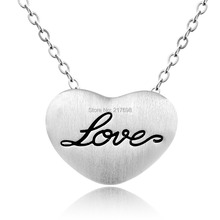DORMITH 925 sterling silver necklace Heart inlay L-O-V-E pendant silk matt plated for women fashion jewellery