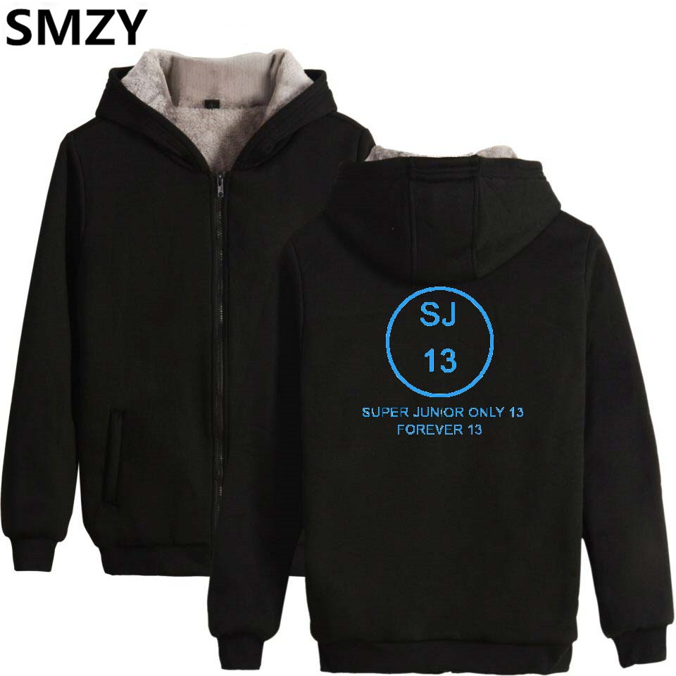 SMZY Super Junior Zipper Hoodies Women Cotton Winter Thicken Korea Kpop Women Hoodies Sweatshirts Fashion Hip Hop Fans Clother