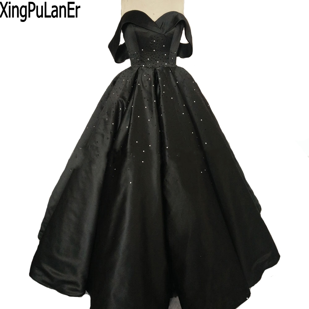 Ball Gown Sweetheart Off The Shoulder Beaded Crystals Black Long ...
