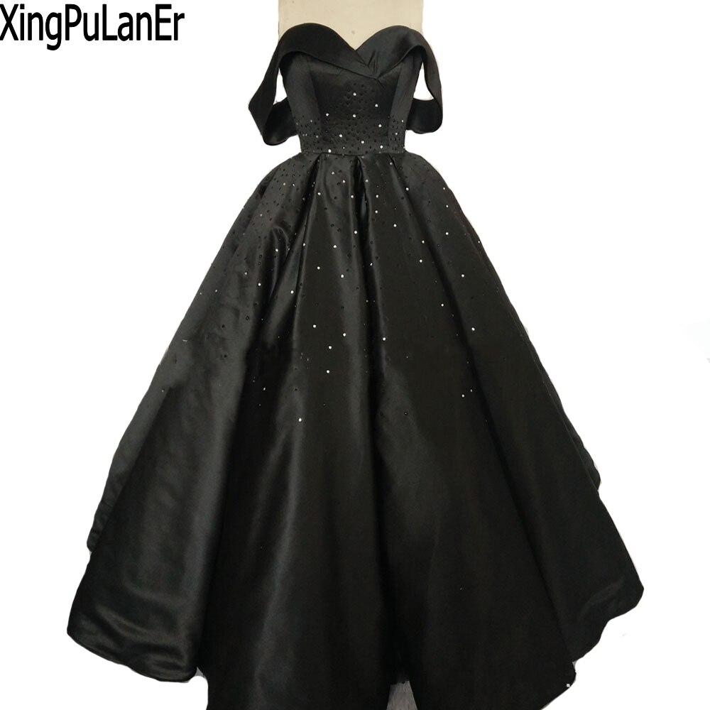 Robe de bal chérie hors de l'épaule perles cristaux noir longues robes de soirée saoudienne arabe robes de grande taille robes de bal