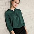 100% Natural Seda blusa Mujeres Sólido de manga Larga Blusas de Gasa de Seda Blusas femininas 2017 NUEVO Verde