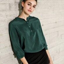 100% Натуральный Шелк блузка Женщины Твердые Длинный рукав Блузки Шелк Шифон Blusas femininas 2017 НОВЫЙ Зеленый