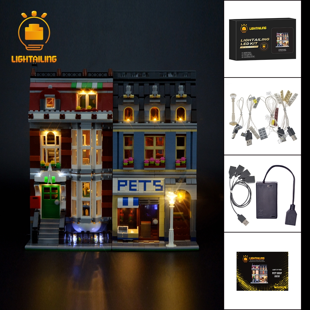 LIGHTAILING Led Light Up Kit For Creator Pet Shop Supermarket Building Block Model Light Set Compatible With 10218 And 15009 led light up kit gor city model building block figures accessories kit toys for children compatible with lepin