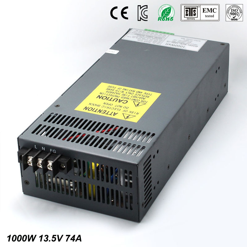 DC Power Supply 13.5V 74A 1000w Led Driver Transformer 110V 240V AC to DC13.5V Power Adapter for strip lamp CNC CCTV dc power supply 24v 25a 600w led driver transformer 110v 220v ac to dc24v power adapter for strip lamp cnc cctv