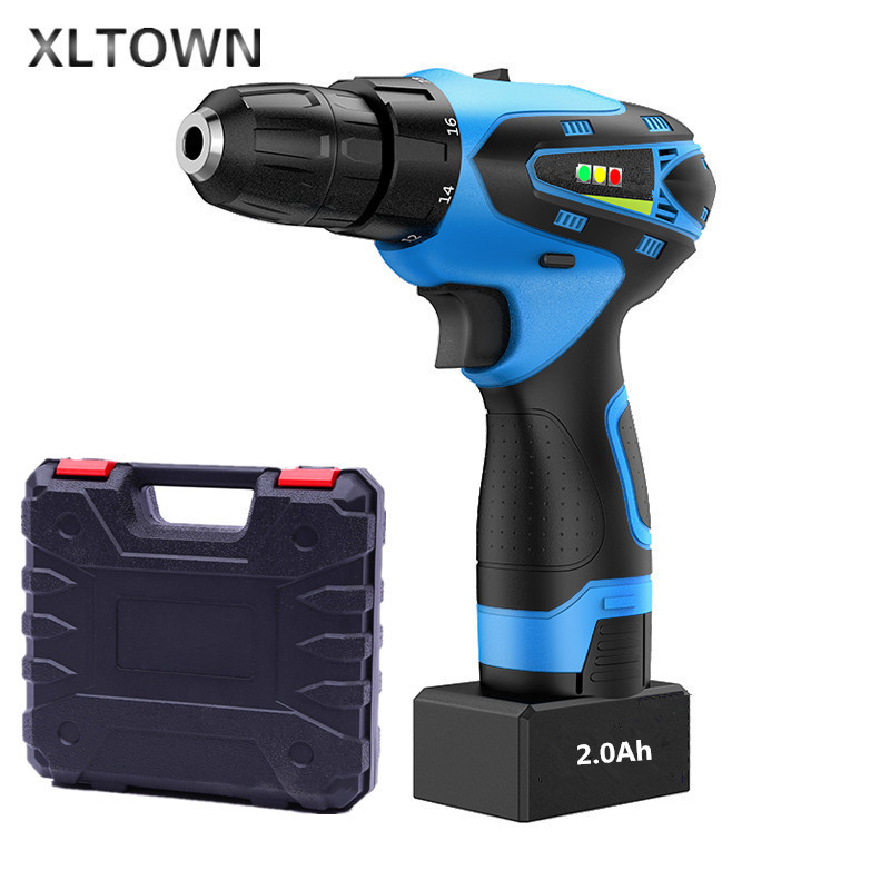 XLTWON 25V 2000 Ma Electric Screwdriver With a box Multifunction Lithium Battery Electric Drill Charging Cordless Electric Drill