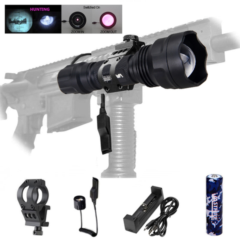 led tactical caca arma luz zoomable 5 w 7 w ir 850nm 940nm visao noturna
