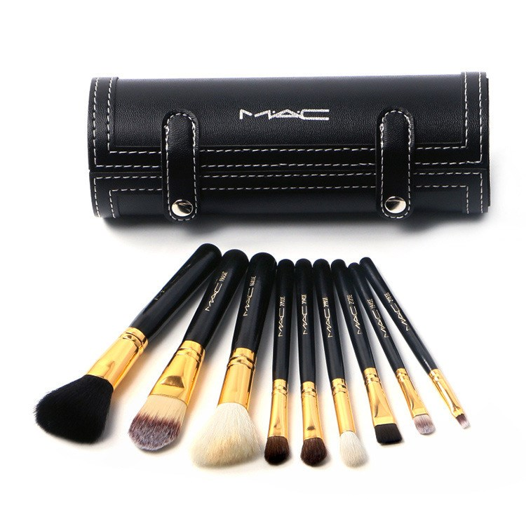 MAC 9 pcs Makeup brush Makeup Set Powder Foundation Eye shadow Make Up Tools Cosmetics Soft Synthetic Hair With PU Leather Case