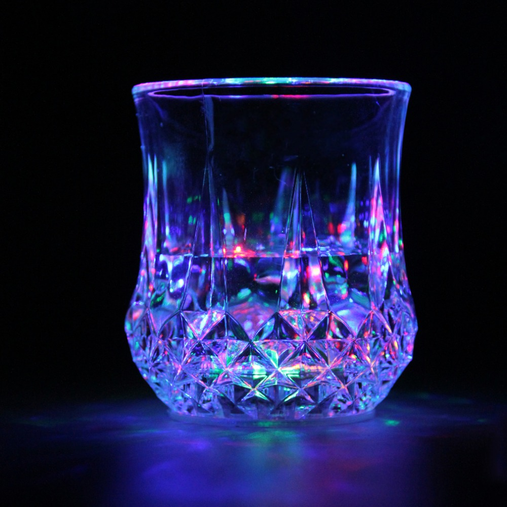 1Pc LED Flashing Glowing Water Liquid Activated Light-up Wine Glass Mug Party