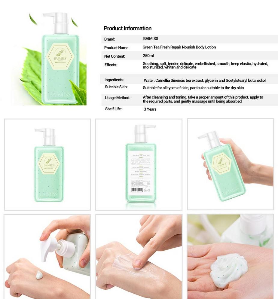 BAIMISS Green Tea Deep Repair Body Cream Body Lotion Moisturizing Soothing Whitening Cream Anti Wrinkle Skin Care Body Care 9