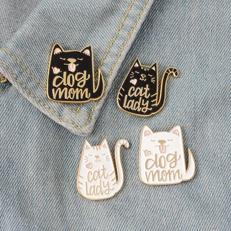 Broches Zwart Wit Cartoon Dier Metalen Broche Pinnen Badge Gift Kitten lover en puppy lover Leuke Dier sieraden Super Leuke