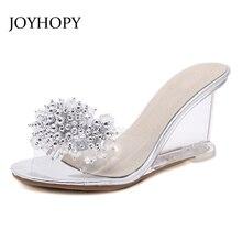 JOYHOPY 2018 sandalias sexis de verano de Mujer Zapatos de tacón  transparente de cuña zapatillas de cuentas de cadena de cristal. b61d685f16f7