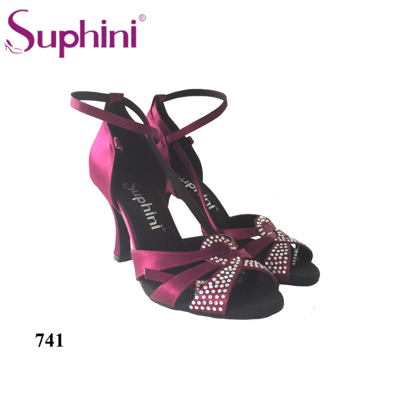 FREE SHIPPING Suphini Purple Satin Latin Dancing Shoes Women's Rhinestone Companionship Salsa Shoes satin with rhinestone dancing shoes for women ladies square heel ballroom dance shoes luxurious salsa shoes free shipping 6394