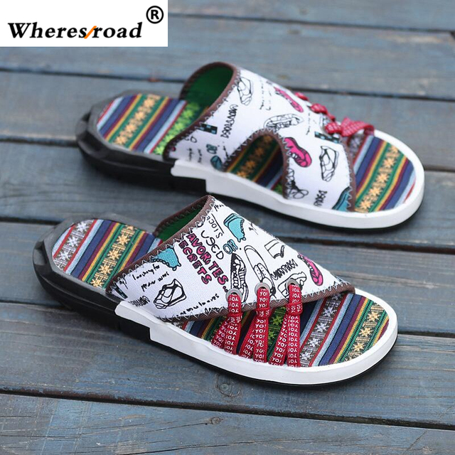 5a0394497d07a wheresroad 2018 Summer Slippers Men Cool China Style Men's Sneaker Casual  Sandals Skid-proof Camouflage Fashion Beach Shoes