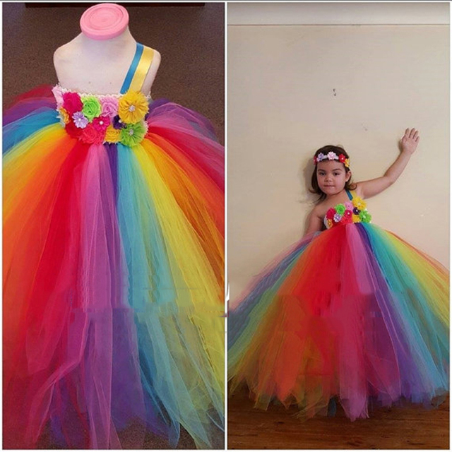 Candy Easter Birthday Tutu Dress Real Photo Baby Girl Outfit Flower For Wedding Party